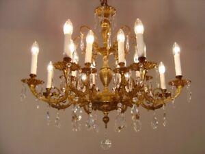 """FINE BRASS GLASS CRYSTAL CHANDELIER CEILING LARGE OLD LAMP LIVING ROOM Ø 32"""""""
