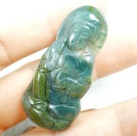 Natural Marine chalcedony hand-carved Guanyin Pendant necklace jewelry Makin