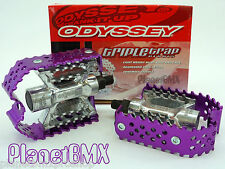 """Odyssey TRIPLE TRAP bicycle BMX PEDALS set PURPLE cage SILVER body 1/2"""" size NEW"""