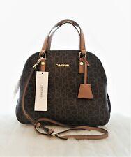 New Calvin Klein Brown High Dome Handbag Crossbody Bag Monogram
