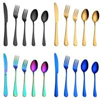 5Pcs Stainless Steel Flatware Fork Spoon Knife Teaspoon Tableware Kitchen Tools
