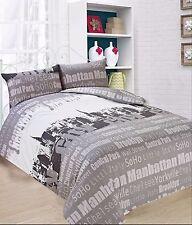 """NEW DESIGN """" NEW YORK """" DOUBLE SIZE DUVET SET Inc Duvet cover  2 x pillow cases"""