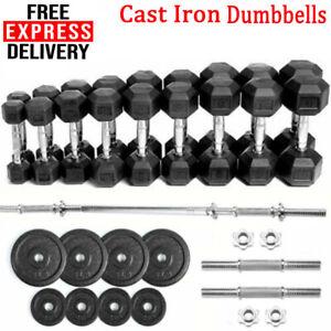 Cast Iron Rubber Encased Hex Dumbells Adjustable Barbells Weight Plates +Bar Gym