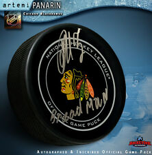 "Artemi Panarin Autographed Chicago Black Hawks  ""BREADMAN""   Official Game Puck"
