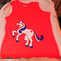 Unicorn Shirt Tank top LARGE Juniors Patriotic Red White Blue Fourth of July