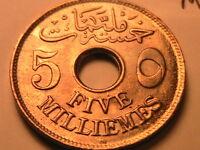 1917-H EGYPT 5 Millieme CH BU Lustrous WWI Era British Protectorate Ottoman Coin