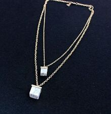 NEW Double Strand Marble Style Geometric Necklace Earring SET Chain Collar Dress