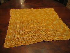 Pretty Vintage Large Square Hand Crochet Gold Pale Yellow Table Doily Or Scarve
