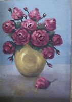 Vintage Antique Red Roses Oil Painting On Canvas Board Signed Gilt Wood Frame