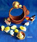 Vintage Lot of 1950s Chenille Fuzzy Easter Basket Chickens Chick Hen Rooster Lot