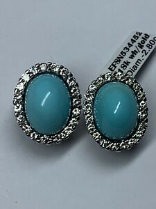 18k White Gold Diamonds And Turquoise Earrings
