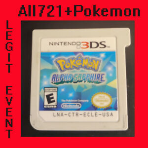 Pokemon Alpha Sapphire Loaded With All 721 + 120+ Legit Event Pokemon Ready 2use