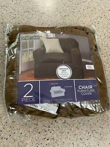 NWT Maytex Suede 2-Piece Slipcover Chair cover BROWN