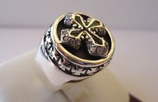 925 STERLING SILVER MENS RING W/ CROSS & SWAROVSKI CRYSTALS/sz 9 to 12