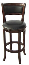 29''SEAT HIGH CLASSIC LOOKING WOOD-LEG SWIVEL BAR STOOL-IN ESPRESSO FINISH-ASDI