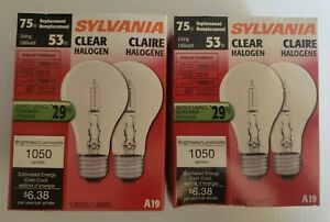 4- SYLVANIA 75W Replacement, Uses 53W Light Bulbs A19 Lamp Clear 53A/Hal/CL/2