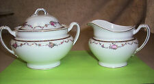Vintage W H Grindley Sugar Bowl and Creamer w/ Floral Garland & Gold Accent Rare
