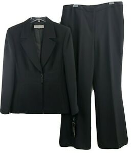 Tahari Arthur S Levine Womens sz 16 Pant Suit 2 Pc Black Lined Bobby NWT