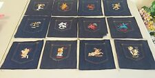 zodiac embroidered pockets set of 12