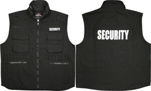 Black Security Officer Guard Ranger Tactical Vest with Hood