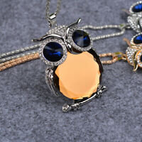 Sweater Jewelry Drill Women Set Necklace Rhinestone Chain Pendant Owl Trendy