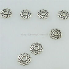 15349 400PCS Antique Silver Vintage Mini Flower 6mm Spacer Bead Cap End Charms