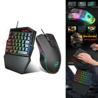 HXSJ HZ22 Ergonomic Multicolor Backlight One-Handed Game wired Keyboard+Mouse FE
