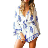 Women Sexy Boho Rompers Long Sleeves Floral Print Casual Jumpsuit Short Pant hot