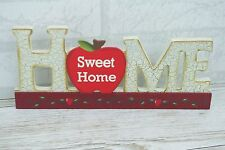 Plaque Home Sweet Home Block Cut Out Sign Apple Wooden Red Cream 27cm SG1311