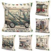 Funda de Cojínes Fundas de Almohada Happy Campers Casa Textiles Sofá Coche Decor