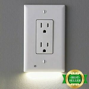 510 Duplex Wall Plate Outlet Cover w/LED Night Light Ambient Light Sensor Lamp
