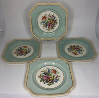 Johnson Bros Square Salad Dessert Plates Rope Trim Set of 4 Old English England