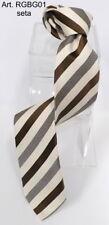 Cravatta regimental beige marrone gialle seta anche con iniziali ricamate