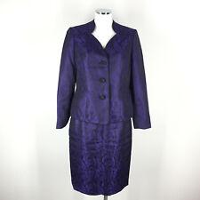 Le Suit 8 Purple Black Brocade Skirt Suit Paisley Cocktail Formal