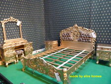 Gold 5' Baroque Rococo Bed with leopard print padded headboard .... TOP QUALITY