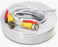 Security Camera Cable Wire CCTV Video Power 66 FT 20M BNC RCA Cord DVR White US