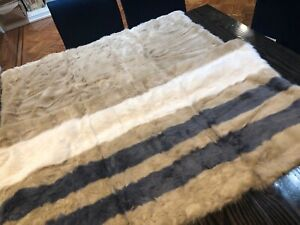 "UGG Royale Striped Faux Fur Throw 50""x 70"" Blanket Dream Blue Cream NEW Stripes"