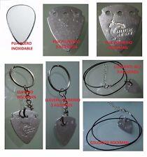 pack acero inox+alu+aluminio rock+2 llaveros y 2 collares puas guitarra metal