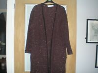 ZARA Burgundy/Black/ Brown Long Open Front Cardigan/ Coatigan BLOGGERS UK10/12