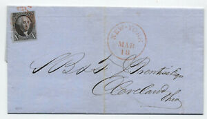 1850 New York #2 10 cent 1847 ocean mail CDS cover with PFC [M.1]