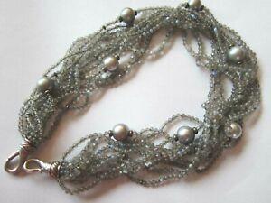 "David Yurman 9 Tahitian Pearl 11 Strands Gray Quartz Beads 17"" Sterling 18k"