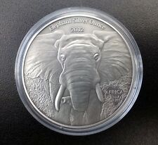 Africa Silver Ounces Series Elephant - 1Oz Gabon 1000 Francs 2012 Antique Finish