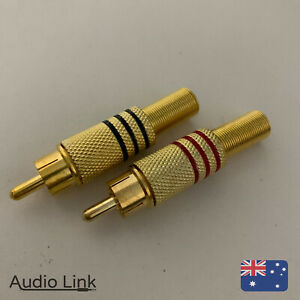 Gold RCA Connector Pair for Speaker Wiring Patch Bay Cable Stereo Red Jack Plug