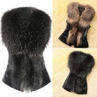 Women's Faux Fur Jacket Coat Body Warmer Sleeveless Vest Waistcoat Gilet Outwear
