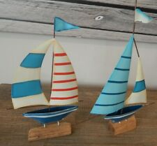 RUSTIC STYLE METAL BOATS YACHTS ON WOOD BASE NAUTICAL THEME 2 STYLES
