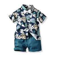 2pcs Toddler Kids Baby Boys Summer Leaves Tops T-shirt+Pants Shorts Outfits Set