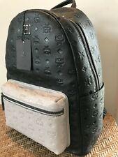 New  MCM Ottoman Backpack, Leather 2 tone, Logo Embossed, Black/Gray, Medium
