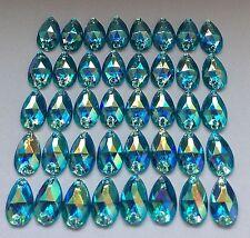 50 PZ x Sew sul 7x12 mm Acrilico Strass blu ab forma a goccia colore