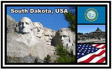 SOUTH DAKOTA, USA, & FLAG - SOUVENIR NOVELTY FRIDGE MAGNET - NEW - GIFT