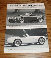 Original 1983 - 1984 Contemporary Cobra Replica 427 289 Sales Sheet Brochure
